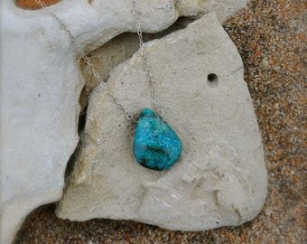 Sterling Silver Turquoise Drop Necklace