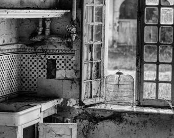 Abandoned kitchen in an old french farm, urbex, wall decoration,fineart,