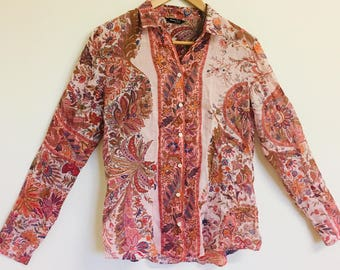 Indie/Boho Pink Paisley Patterned Blouse