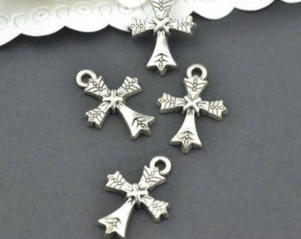Cross charms, 25 pcs charms, Tibetan silver charms, Alloy charms, Metal charms, Jewelry findings, Religious charms, 21 mm x 15 mm, A139