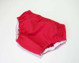 Red diaper cover-Solid color diaper cover-Baby gender neutral bloomers-Baby red bloomers-Cotton nappy cover-Baby shower gift-Baby bloomers