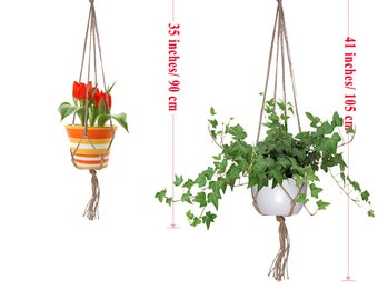 5 Pieces Jute Plant Hangers for Indoor Outdoor Decorations, 3 Pieces 41.3 Inches and 2 Pieces 35 Inches