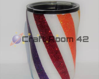 Glitter Tumbler ***CANDYSTRIPE***RAINBOW*** Stainless Steel Insulated 10 20 30 36 40 ounces HOLIDAY***Personalize***Monogram
