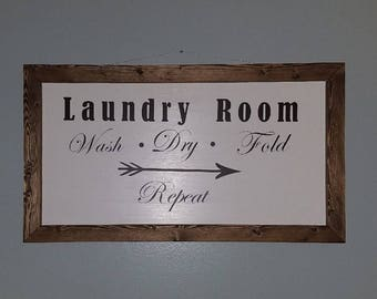 Rustic wood frame Laundry Room sign