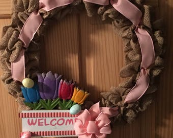Handmade Burlap Easter / Spring Wreath