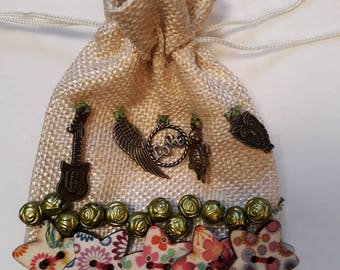 Button and charm lavender bag