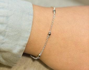 Dainty Bracelet Layering Bracelet Airy Bracelet for Girls Hematite Bracelet Minimalist Bracelet Silver Bracelet Cool Bracelet Gift for Girls