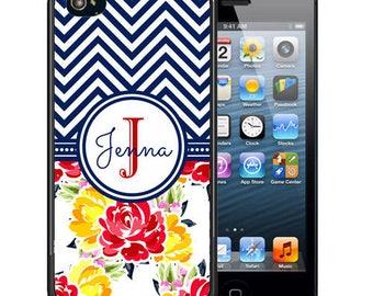 Personalized Rubber Case For iPhone X, 8, 8 plus, 7, 7 plus, 6s, 6s plus, 5, 5s, 5c, SE - Black Chevron Aztec