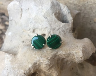 Malachite Stud Earrings, Silver and Malachite studs, Statement studs, green stone earrings, gifts for her, mothers day gifts, gift for mom