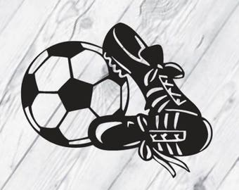 Soccer ball and Shoes Vinyl Decal, Soccer Decal, Car Decal, Laptop Decal, Sports, Black