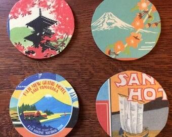 Set of four Japanese motif round coasters