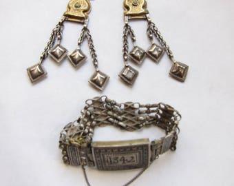 Gorgeous 1920s Afghanistan Silver and Gold Bracelet and Earrings Set (20)
