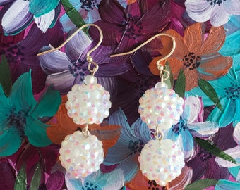Double White Crystal Ball Earrings