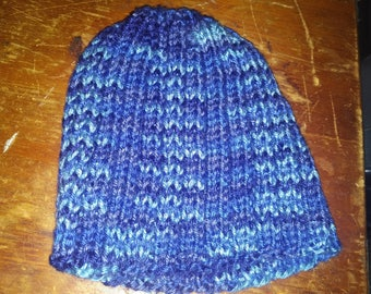 Blue knit ribbed hat