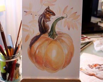 Authentic Watercolor painting/ Illustration/ chipmunk/ Aquarelle/ watercolor art