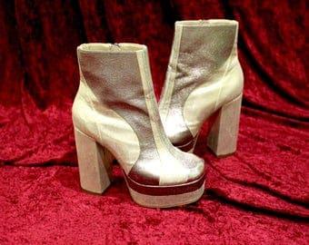 GLAM ROCK Silver Platform Boots SIZE 4