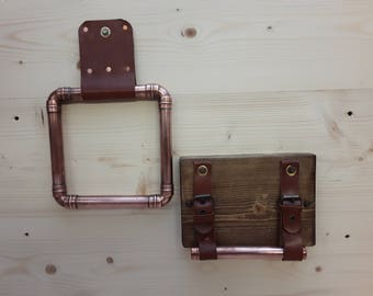 Handmade copper and leather towel rail & wood, copper and leather toilet roll holder - unstitched leather