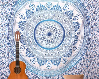 Boho Queen Size Mandala Tapestry - Blue Sun