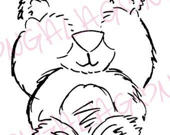 Peek a Boo Bear Digital Stamp