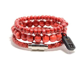 3 Pack 10mm/6mm/Leather Red Bracelet Set