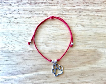 Dog Paw Charm Hemp Bracelet