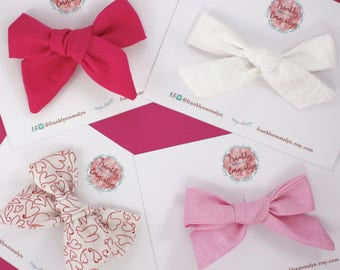 4 Valentines bow set on nylon or clip, baby shower gift, toddler hair bow, pink hair bow, valentines hair bow, red hair bow, white hair bow
