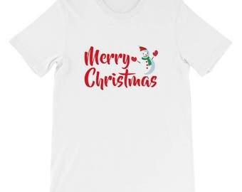 Merry Christmas snowman shirt Short-Sleeve Unisex T-Shirt