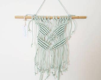 Macrababy Jr - Hand Dyed Minty Blue Macrame Wall Hanging for Baby