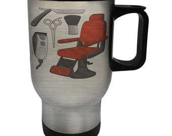 Barber Chair Hair White Thermo Travel Mug 14oz p145t