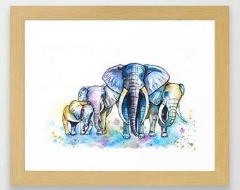 Elephant Herd Watercolour Painting