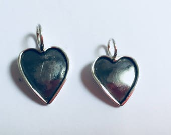Small heart shaped pendant oxidised .