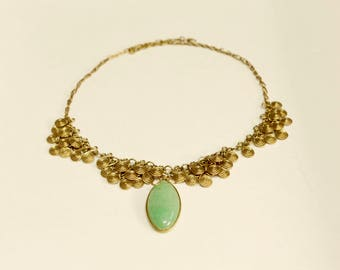 Bronze Necklace with Jade Stone