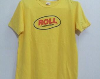 Vintage!!  Roll California japanese shushi yellow  single stitch shirt.