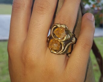 Brass Ring with Citrine