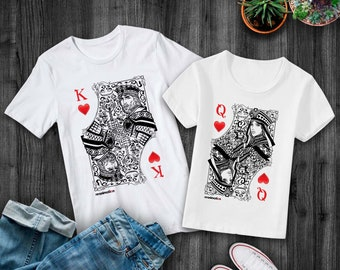 King and Queen Card shirts, Couples shirts, Couples gift, Matching tees, Matching couples shirts, Set of 2 matching shirts