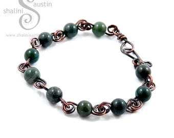 Indian Agate Bracelet with Antique Finish Copper Wire, Semi-precious Handcrafted Elegant Beaded Bracelet