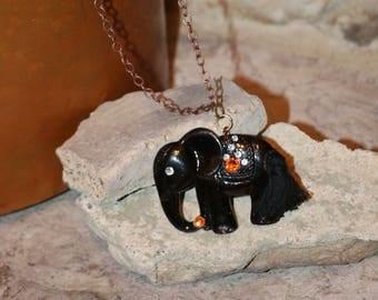 Black elephant necklace