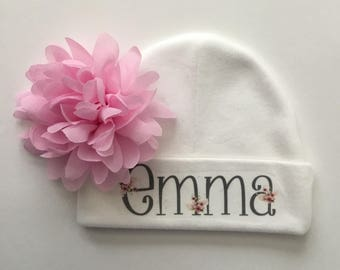 Newborn Personalized Take Home Hat with Flower