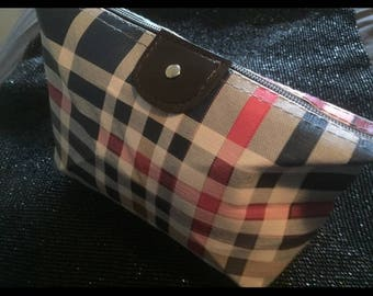 Emporiama Plaid Coated Canvas Cosmetic Bag, New With Tag