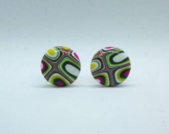 Polymer Clay Round Stud Earrings Ultra Violet Light Fashion Z112