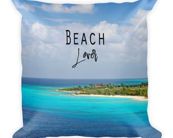Tropical Beach Pillow With Words, Saying, Colorful, Nature Lover Gift, 18 x 18 Nautical For Couch, Bed, Decorative Toss Throw Accent Cushion