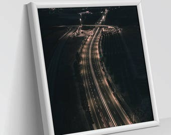 WAY HOME | Aerial Photography, Digital Print, Wall Art Decor, Art Prints, Abstract view, Dry and white