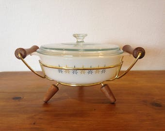 Vintage Anchor Hocking Fire King Candle Glow 1 1/2 Quart Casserole Dish #437 with Metal and Wood Holder