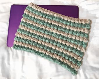 Handmade Crochet Laptop Sleeve -  light grey and washed teal