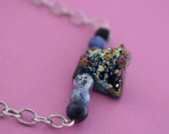 Iridescent Druzy Sodalite Necklace | Gemstone Necklace | Druzy Necklace