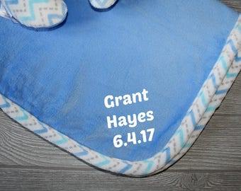 Baby Boy Blanket, Personalized Baby Blanket and Support Pillow Set, Baby Shower Gift Set, Baby Boy Blanket, Blue and Grey Baby Blanket