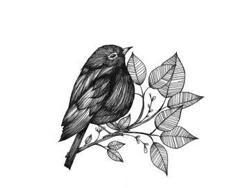 Bird with flowers 2 illustration/Tattoodesign/Fineliner