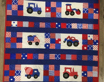 Truck and Tractor Baby Quilt