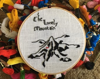 Lonely Mountain // Embroidery Hoop // Erebor // JRR Tolkien // Lord of the Rings // The Hobbit // Bilbo Baggins
