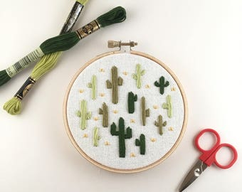 Cactus Party Cross Stitch - Cactus Cross Stitch - Cacti Party - Cactus Wall Decor - Embroidered Cacti - Cacti Cross Stitch